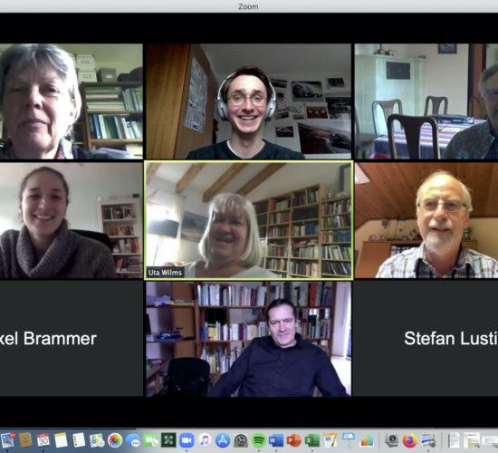 """Foto """"Online-Zoommeeting der SPD Hatten"""" (Gerrit Edelmann): Von links Dr. Heike Burghardt, Gerrit Edelmann, Hajo Töllner, Derya Yildirim, Uta Wilms, Uwe Hollmann, Axel Brammer, Uwe Wessels und Stefan Lustig"""